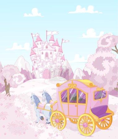 Illustration pour Chariot pour la vraie princesse va au royaume - image libre de droit