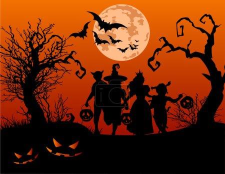 Illustration pour Fond d'Halloween avec des silhouettes d'enfants tour ou traiter en costume d'Halloween - image libre de droit