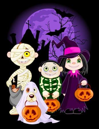 Illustration pour Halloween enfants tour ou traiter en costume d'Halloween - image libre de droit
