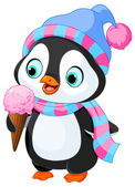 Penguin with hat and scarf eats ice cream