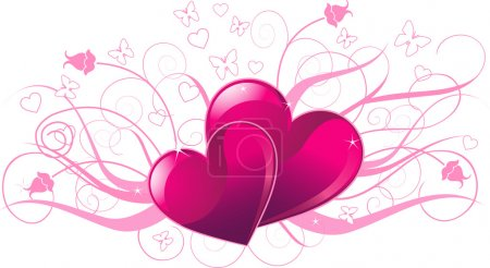 Illustration for Illustration of valentine day card with heart - Royalty Free Image