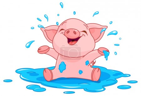 Illustration of very cute piggy in a puddle...