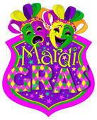 Mardi Gras Comedy and Tragedy Masks design with place for text