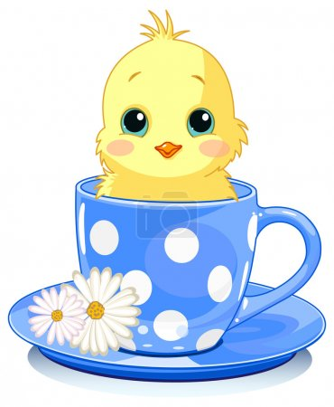 Chicken sits in tea cup.
