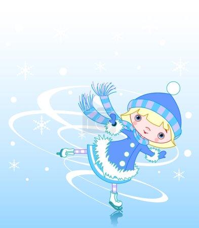 Illustration for Cute little girl ice skater, vector illustration - Royalty Free Image