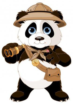 Illustration for Panda safari explorer with binoculars - Royalty Free Image