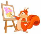Squirrel paints picture