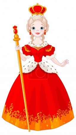 Illustration pour Illustration of beautiful princess with scepter and crown - image libre de droit