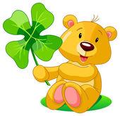 Cute bear holding clover St Patrick's Day illustration