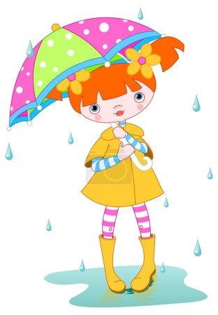 Girl wearing rain gear withumbrella