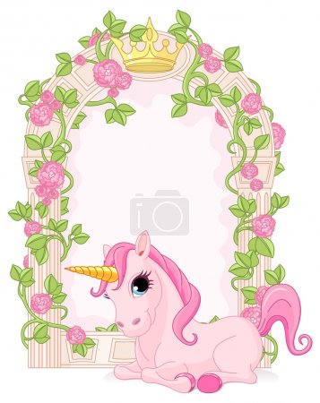 Floral fairy tale frame with unicorn