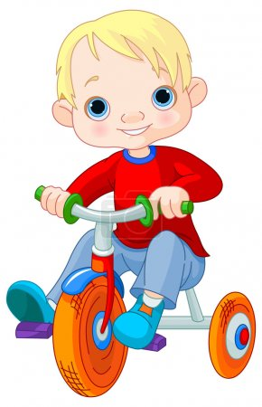 Cute boy on tricycle