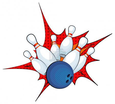 Bowling ball strike with falling pins
