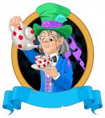 Mad Hatter pours tea design