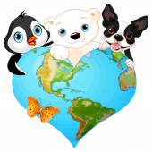 Earth in the form of heart with several of animals