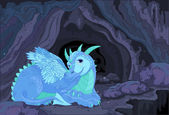 Illustration of a lady dragon on fairy cave background