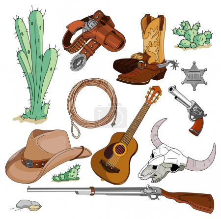 Vintage cowboy western objects set