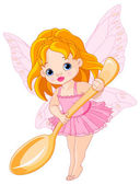 Little fairy holds gold spoon
