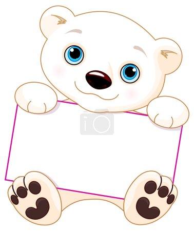 Polar bear holds a sign
