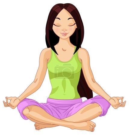 Illustration for Beautiful girl doing yoga meditation - Royalty Free Image