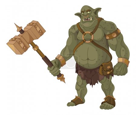 Illustration for Big fat troll with wood hammer - Royalty Free Image