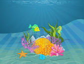 seabed with coral reef and fish