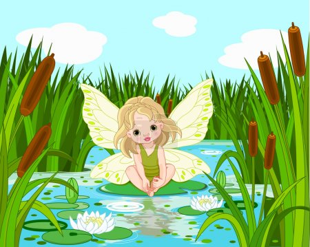 cute fairy sitting in leaf of lily