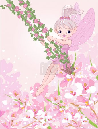 pixie fairy on a swing