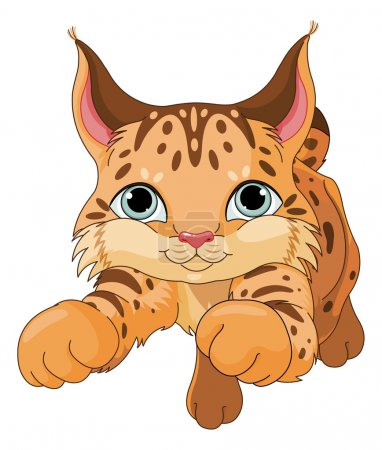 Illustration pour Illustration de louveteau lynx mignon - image libre de droit