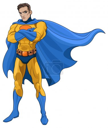 Illustration for Vector illustration of very muscular Superhero - Royalty Free Image