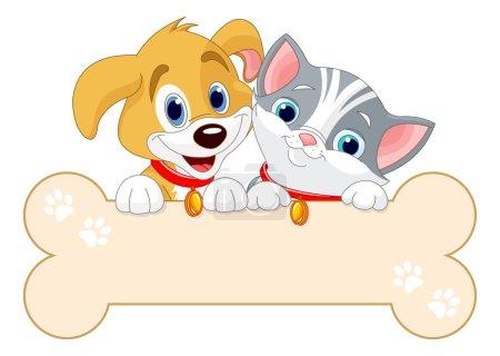 Illustration pour Chat et chien tiennent signe (ajoutez votre propre message ) - image libre de droit