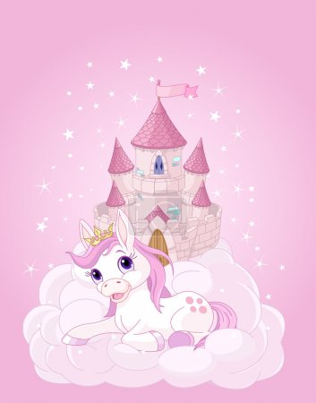 pink fairy castle and unicorn