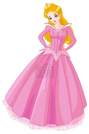 Illustration for Vector illustration of beautiful girl dressed in Sleeping Beauty costume - Royalty Free Image