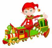 elf sits on toy train
