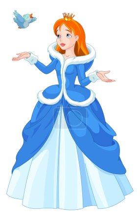 Illustration pour Illustration de princesse avec oiseau sur blanc - image libre de droit