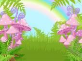 landscape with mushrooms, fern, rainbow
