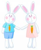Two bunnies holding hands