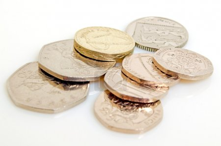 Still-life with the British pound and pence....