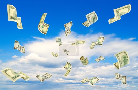 Dollars falling from the blue sky....