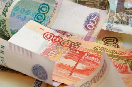 Russian money close-up of various denominations....