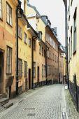 Narrow Street in Old Town (Gamla Stan) of Stockholm