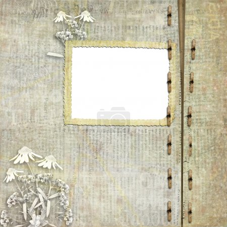 Greeting Card to holiday with daisy on the newspaper background