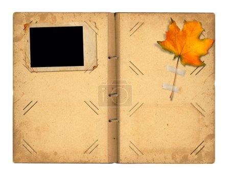 Open vintage photoalbum for photos with autumn foliage on white