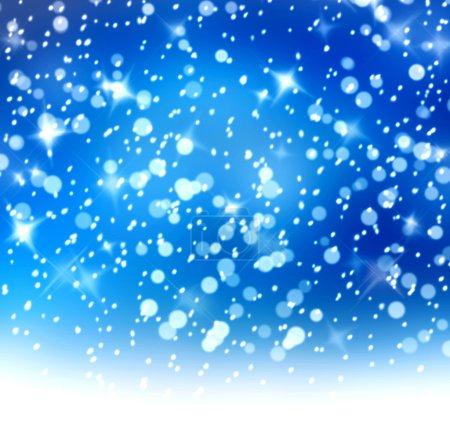 Photo pour Fond enneigé de Noël avec des étoiles bleues et blanches - image libre de droit
