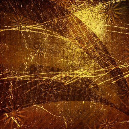 Abstract ancient background in scrapbooking style with gold orna