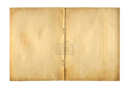Open cover writing-book with  metal clip for record on the isola