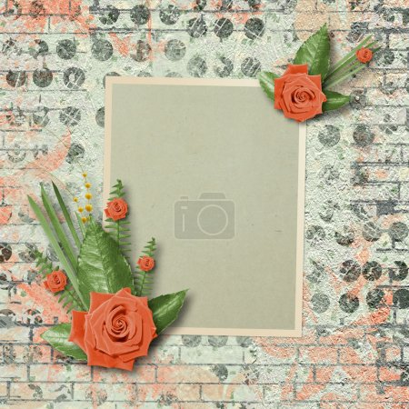 Vintage card for congratulations and invitations with a bouquet