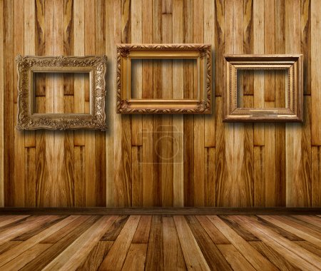 Interior wooden room with gilded wooden frames