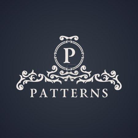 Photo pour Emblème de luxe vintage. Motif calligraphique élégant sur le logo. Monogramme noir et blanc P - image libre de droit