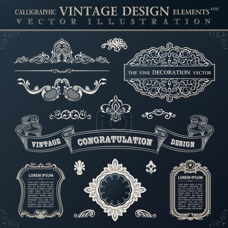 Calligraphic black elements vintage Congratulation and page deco